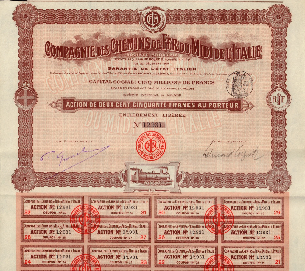 CHEMINS DE FER DU MIDI DE L/'ITALIE 1921 RAILWAY ITALY