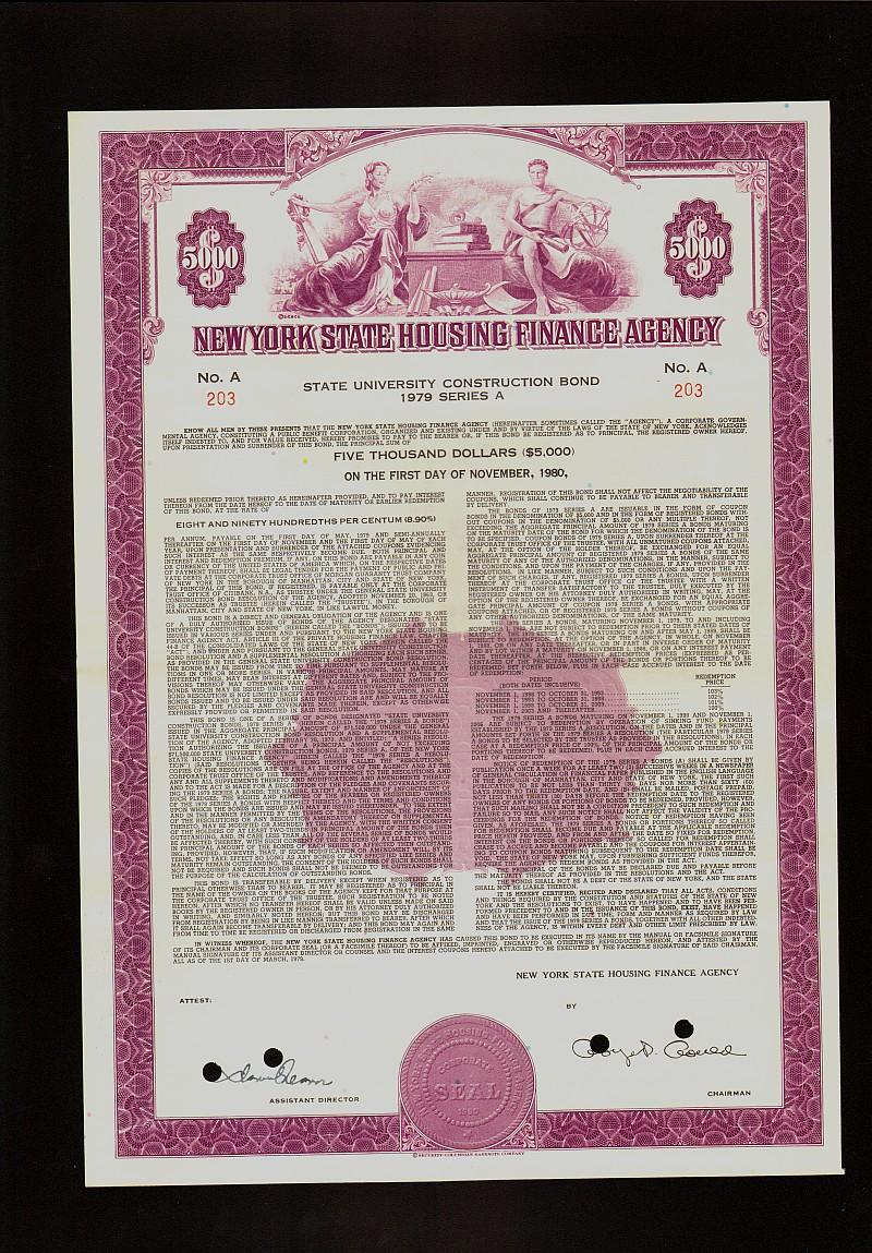 NEW YORK STATE HFA UNIVERSITY CONSTRUCTION BOND 1979