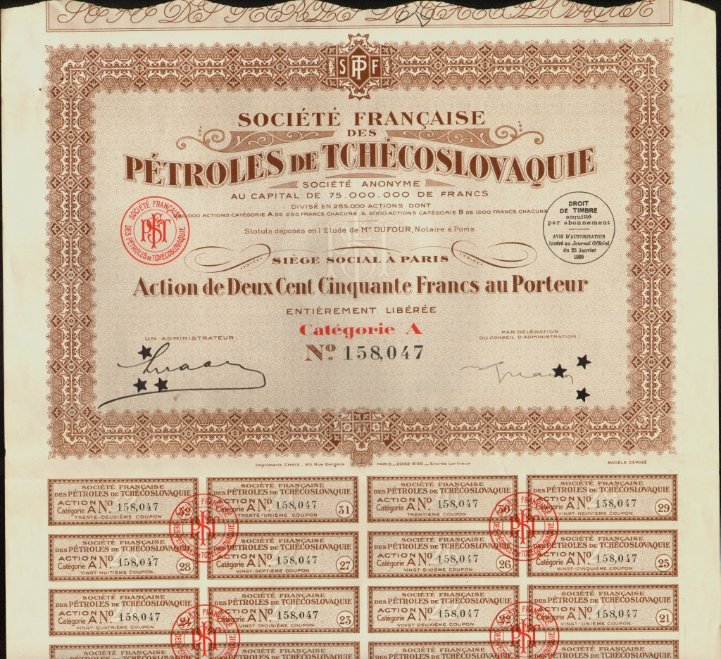 PETROLES FRANCE MEXIQUE 1926 with dividend coupons uncancelled MEXICO OIL