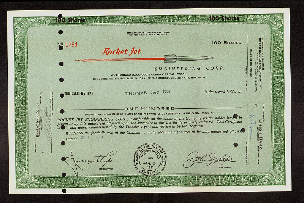 ROCKET JET ENGINEERING GLENDALE  CALIFORNIA issued to Thomas Jay 1961 AIRCRAFT